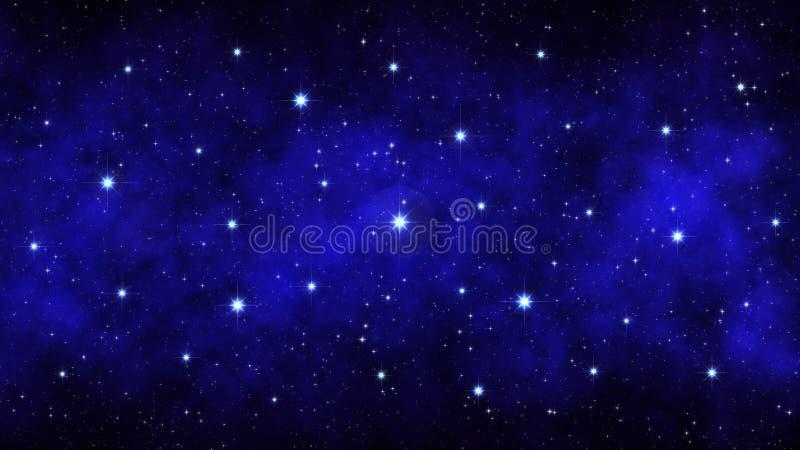 Nacht sterrige hemel, donkerblauwe ruimteachtergrond met heldere grote sterrennevel stock foto's