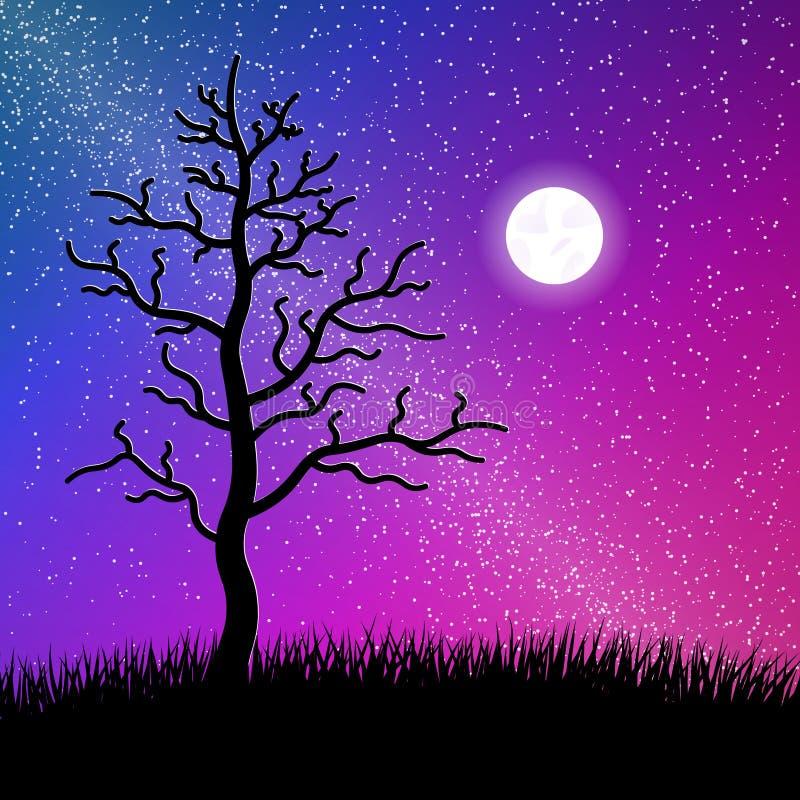 Nacht sterrige hemel met boom en grassilhouet royalty-vrije illustratie