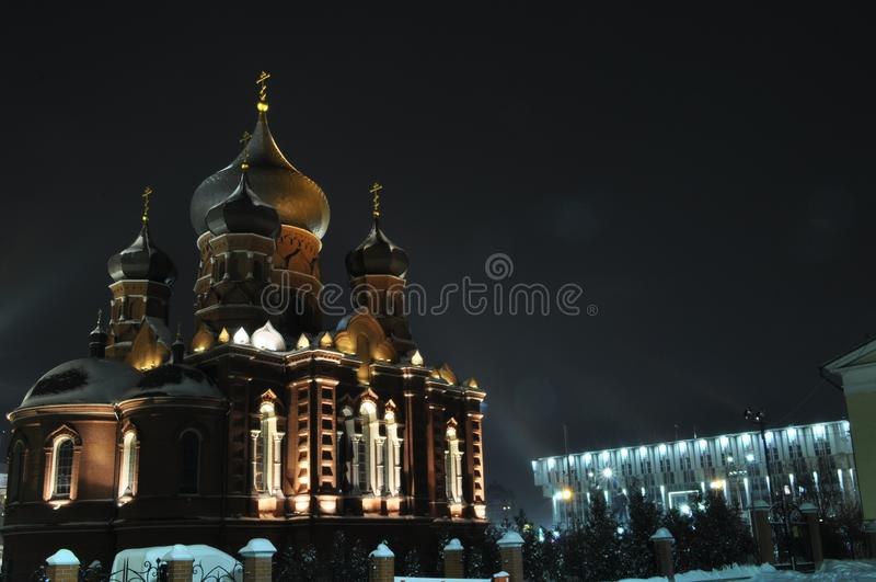 Nacht Tula der Monat Mai Christlicher Tempel lizenzfreies stockfoto