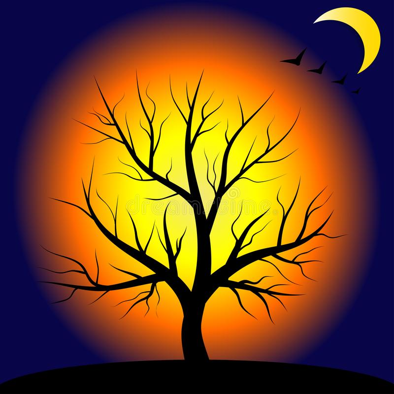 Nacht und Baum, magische Landschaft Abbildung für Halloween lizenzfreie abbildung