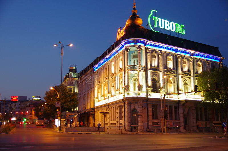 Nacht Varna, Bulgarien lizenzfreie stockfotografie