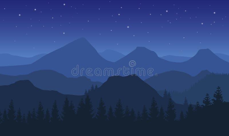 Nacht vectorlandschap met blauwe nevelige beboste bergen en sterren op donkere hemel stock illustratie