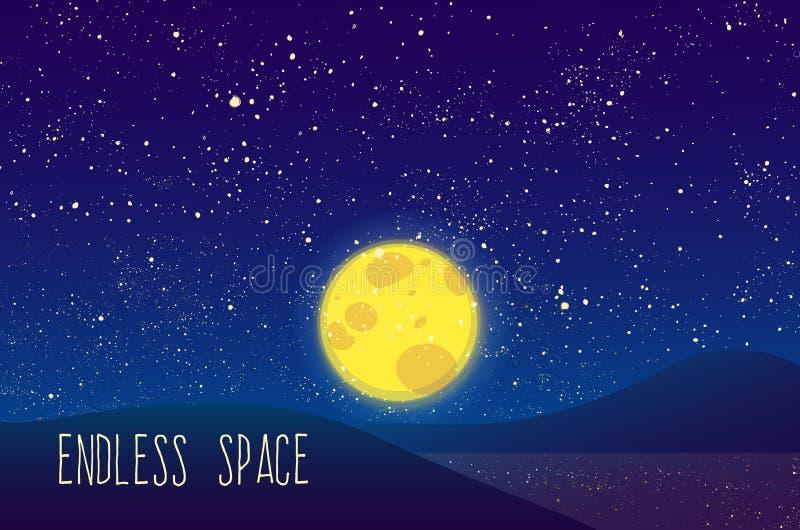 Nacht vectormaan, glanzende sterren op blauwe hemel stock foto