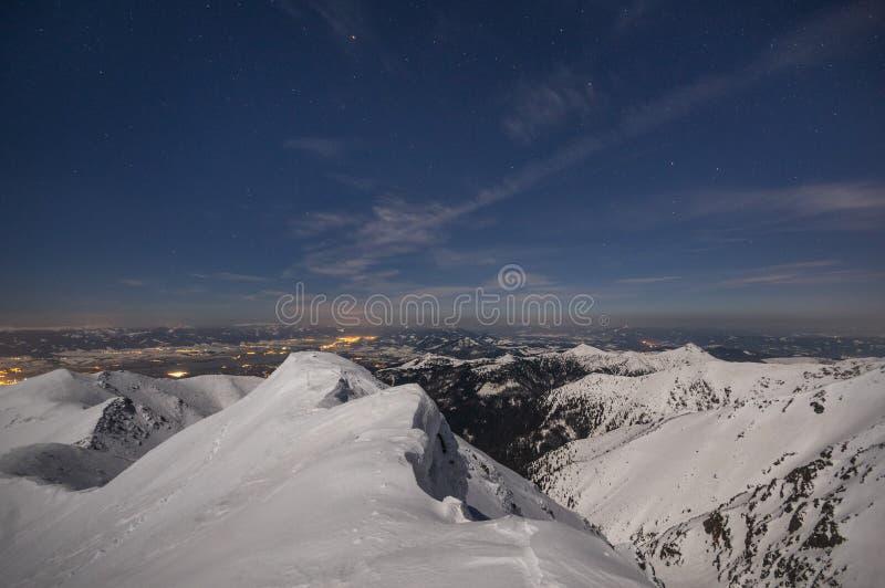 Nacht vom Prislop Berg in der Westtatra lizenzfreies stockbild