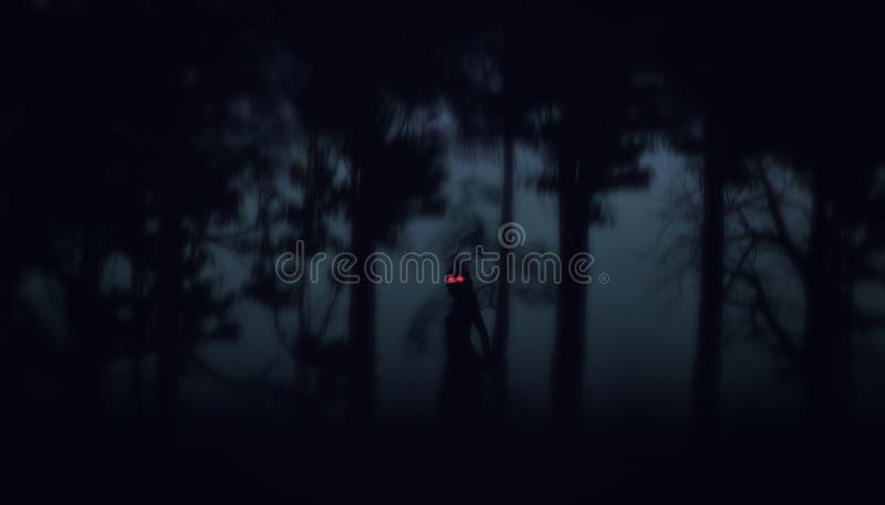 Nacht-Wald-Halloween-Hintergrund stock abbildung
