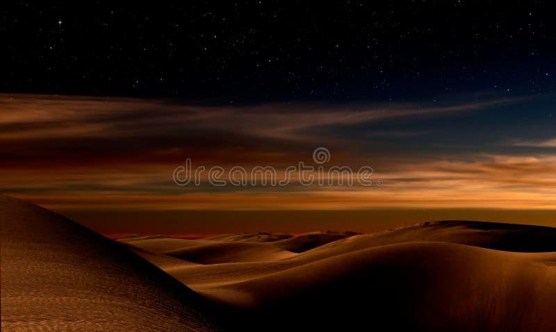 Nacht in woestijn stock afbeeldingen