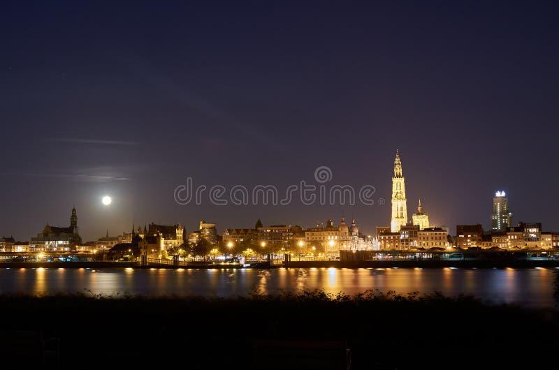 Nachtansicht über Stadt von Antwerpen stockbild