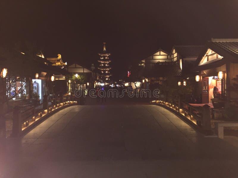 Nachtansicht der Blumenstadt herein lizenzfreie stockfotos
