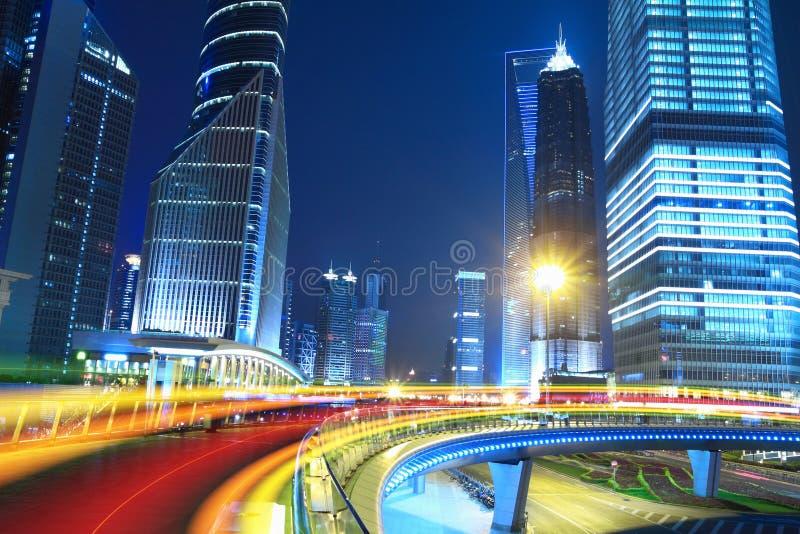 Nachtansicht der Shanghai-Stadt schön stockbild
