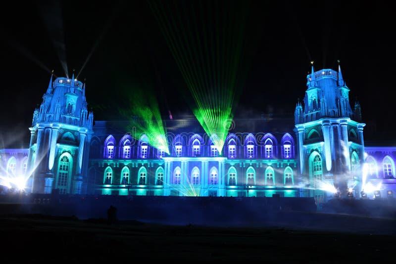 Nachtansicht des Palast Tsaritsyno-Geschichtsmuseums in Moskau, Ru lizenzfreie stockfotos