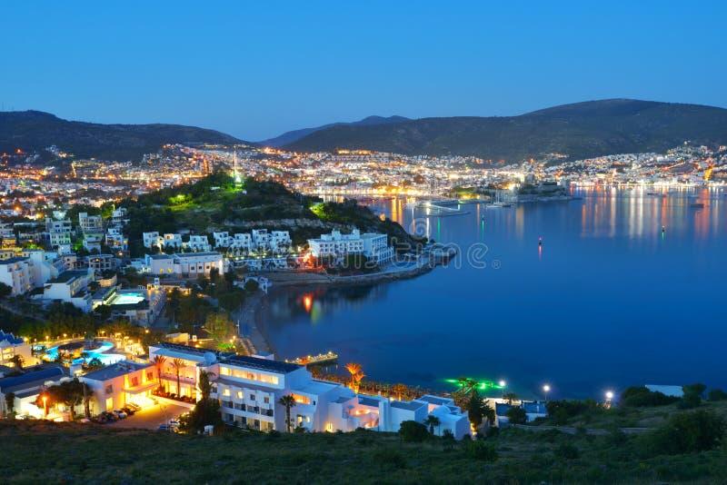 Nachtansicht von Bodrum, die Türkei stockbilder