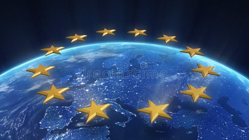 Nachtansicht von Europa lizenzfreie abbildung