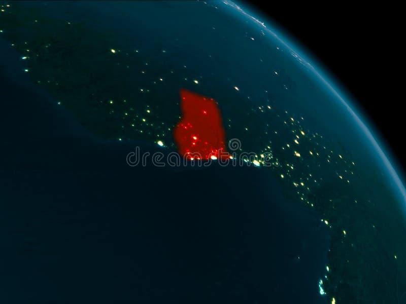 Nachtansicht von Ghana auf Erde stock abbildung
