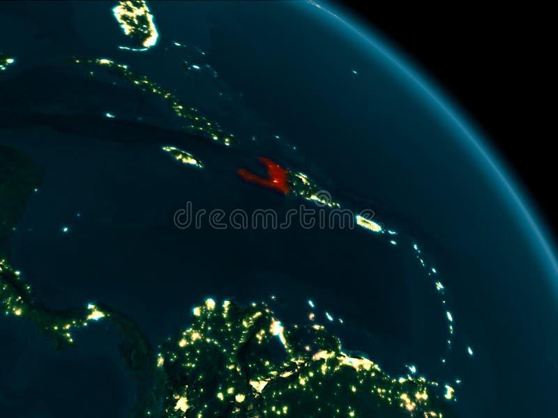 Nachtansicht von Haiti auf Erde vektor abbildung