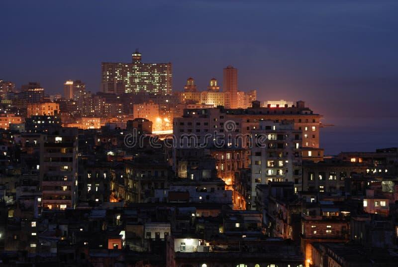 Nachtansicht von Havana, Kuba stockbilder