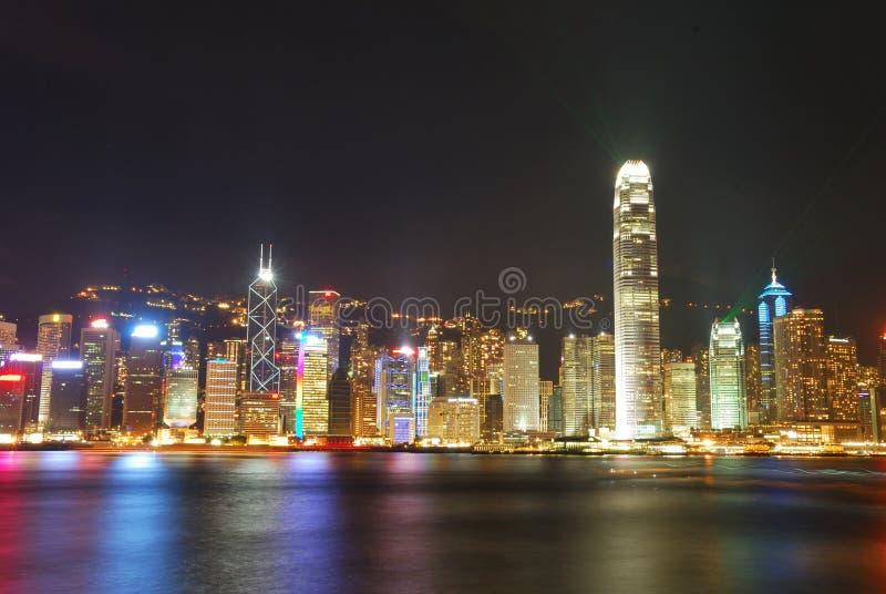 Nachtansicht von Hong Kong stockbilder