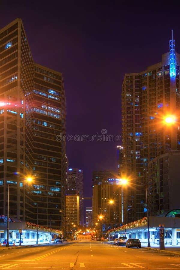 Nachtansicht von im Stadtzentrum gelegenem Atlanta, USA stockfoto