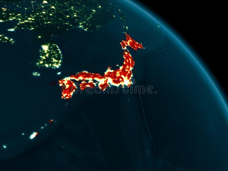 Nachtansicht von Japan auf Erde lizenzfreie abbildung