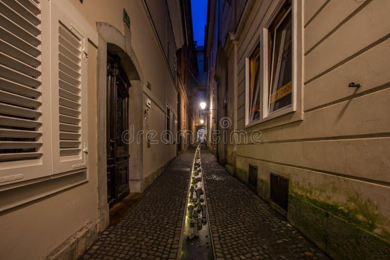 Nachtansicht von Ljubljana - Slowenien lizenzfreies stockfoto