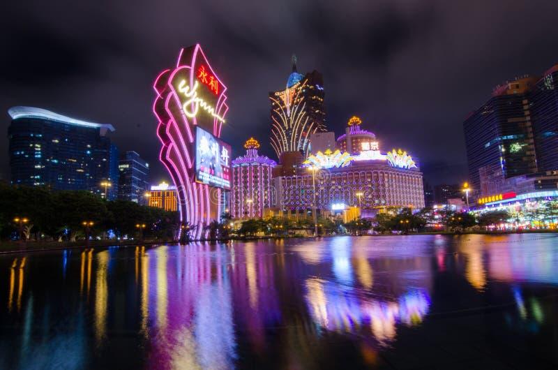 Nachtansicht von Macau stockbilder