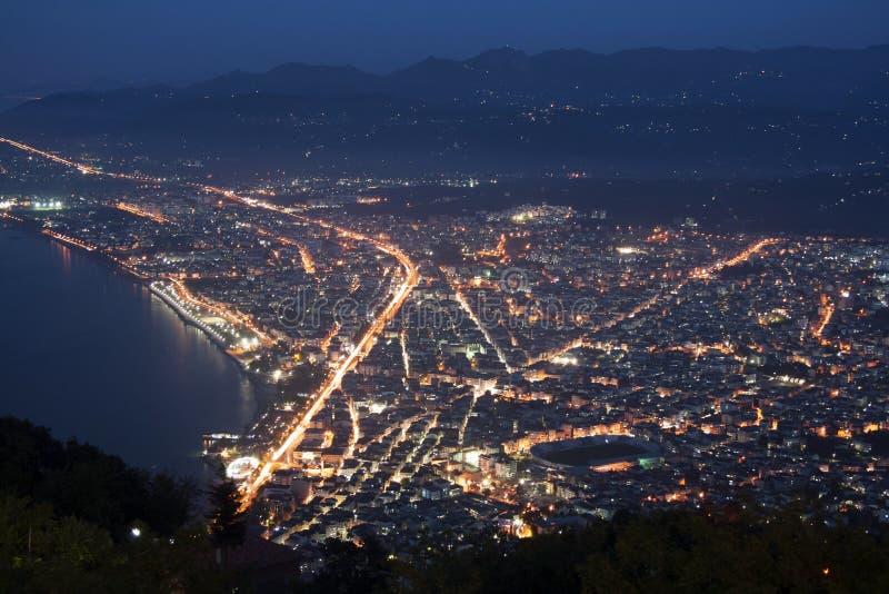 Nachtansicht von Ordu-Stadt von Boztepe stockbild