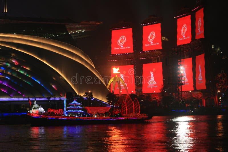 Nachtansicht von Pearl River in Guangzhou-Bezirk China lizenzfreie stockfotos
