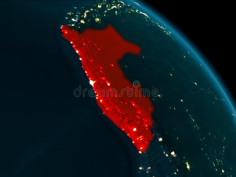 Nachtansicht von Peru auf Erde stock abbildung