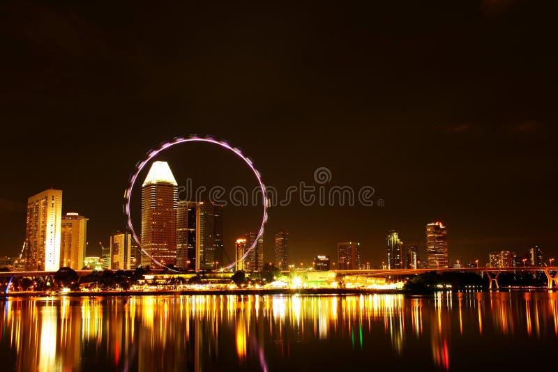 Nachtansicht von Singapur-Flieger stockfoto