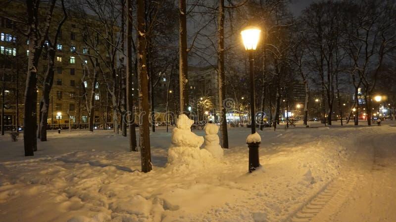 Nachtansicht von Stadt Russlands Moskau stockfoto