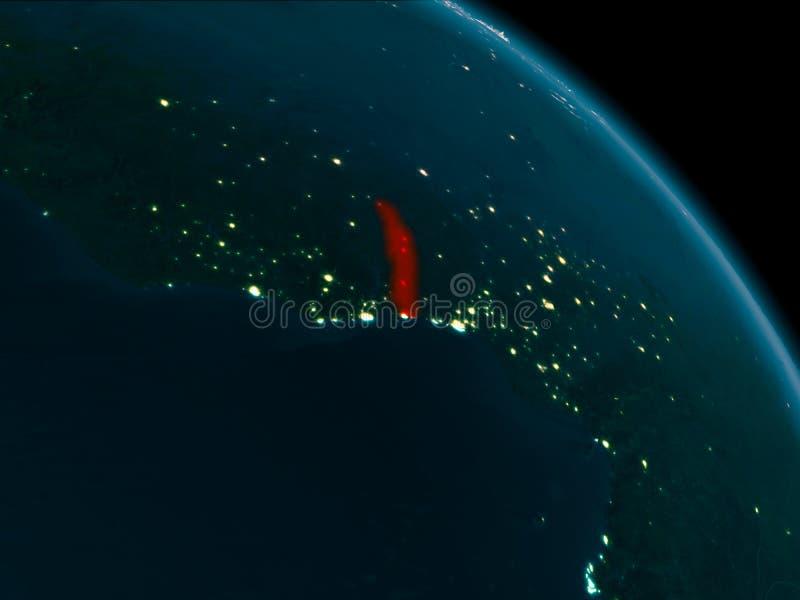 Nachtansicht von Togo auf Erde stock abbildung