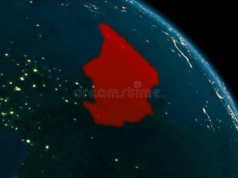 Nachtansicht von Tschad auf Erde lizenzfreie abbildung