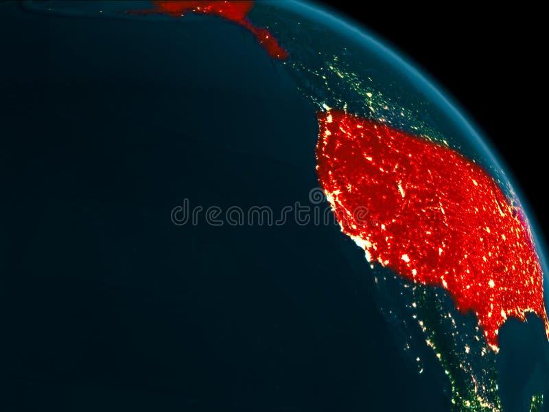Nachtansicht von USA auf Erde stock abbildung