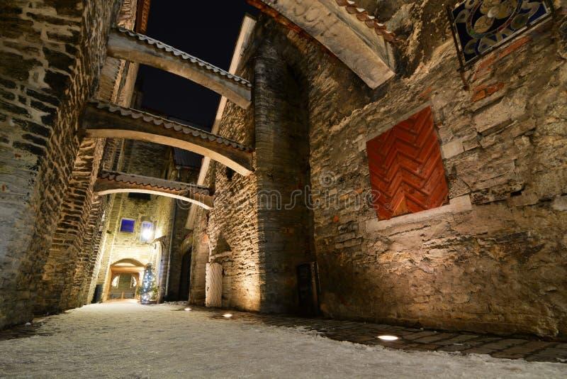 Nachtansicht am Winter ` S St. Catherine Durchgang tallinn Estland lizenzfreies stockfoto