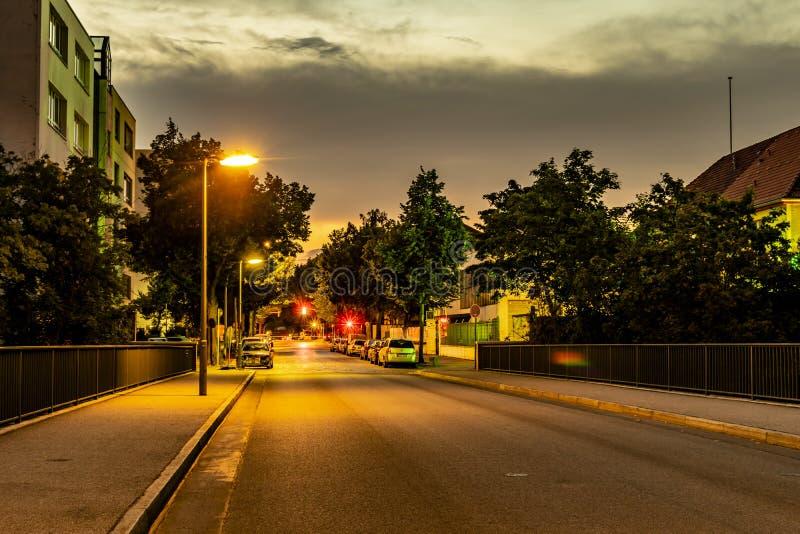 Nachtaufnahme einer Nebenstraße mit beleuchteten Laternen, Ampeln und sternförmigen Halos lizenzfreie stockfotografie
