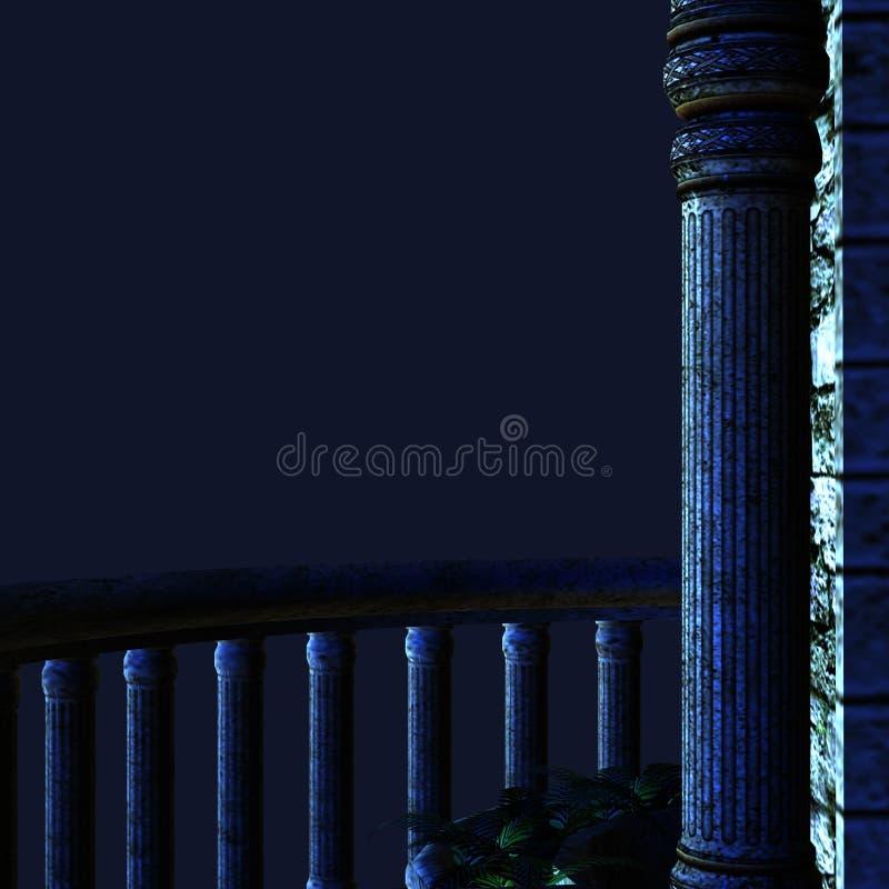 Nachtbalkon stock abbildung