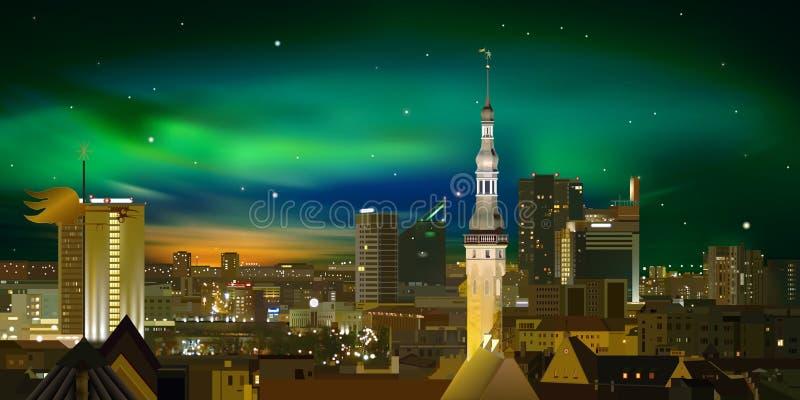 Nachtbeleuchtungsstadtbild von Tallinn vektor abbildung