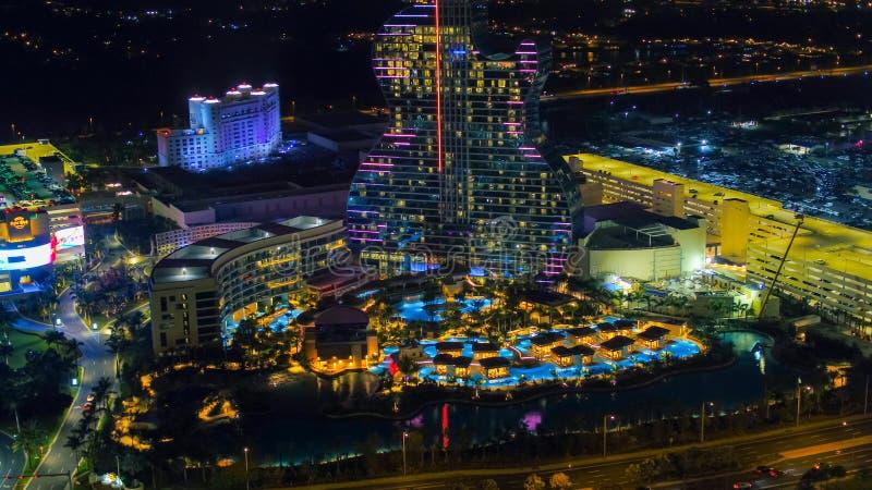 Nachtbild Seminole Hard Rock Gitarre Hotel Resort stockbild