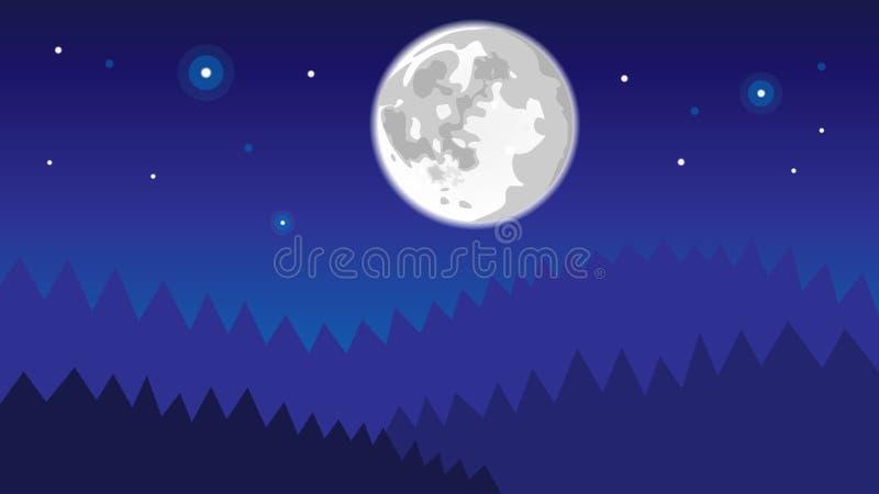 Nachtbos met volle maan en glanzende sterren stock illustratie