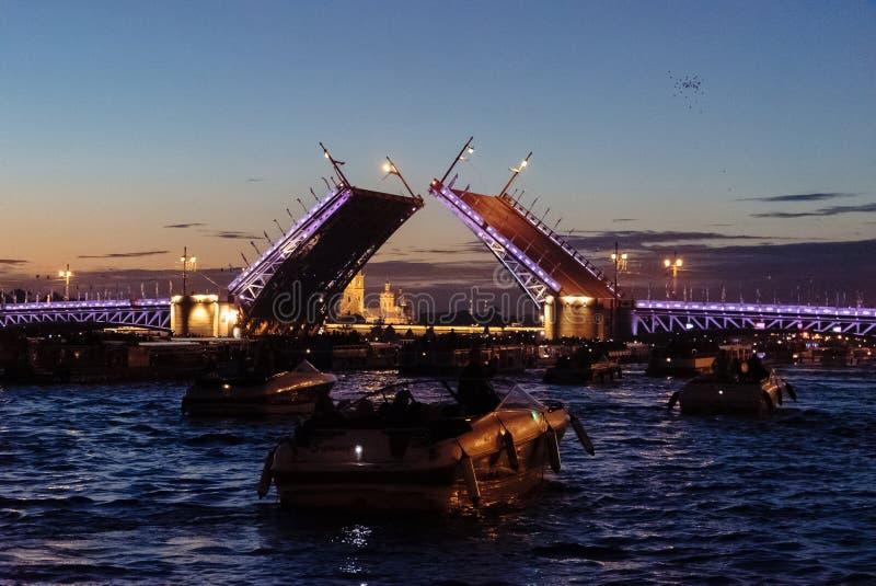 Nachtbrücke im St Petersburg lizenzfreies stockbild
