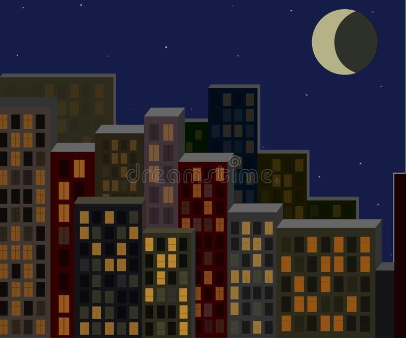 Nachtcityscape, het leven gebouwen stock illustratie
