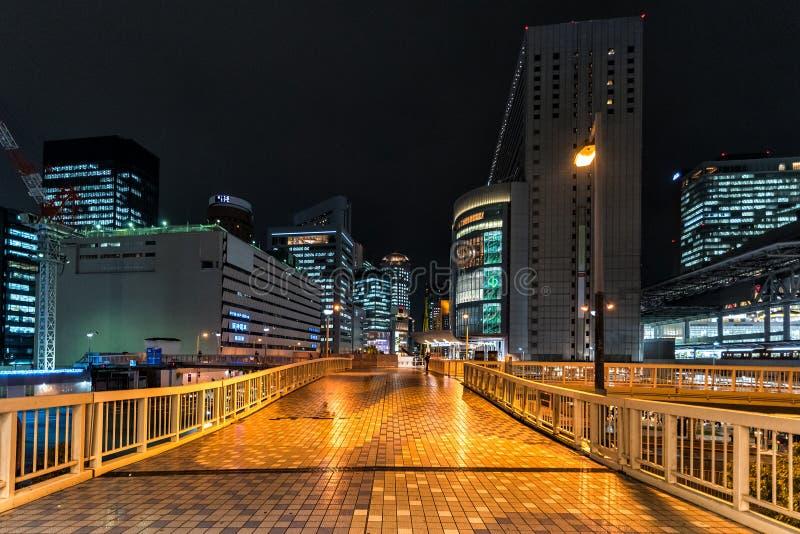 Nachtcityscape van de stad van Osaka, Japan royalty-vrije stock foto's