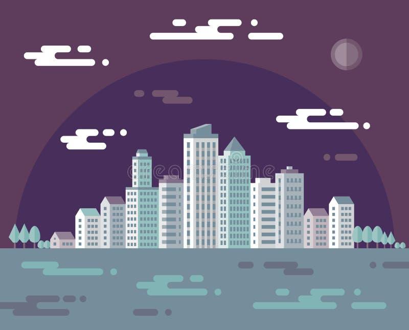 Nachtcityscape - vectorconceptenillustratie in vlakke ontwerpstijl voor presentatie, boekje, website en verschillend ontwerpproje vector illustratie