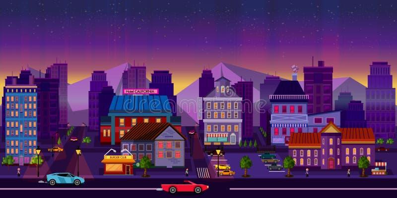 Nachtcityscape, Zaal Vector illustratie vector illustratie