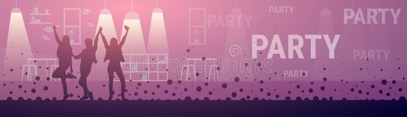 Nachtclub-Leute-Mädchen-Gruppen-Tanzen silhouettiert Partei stock abbildung