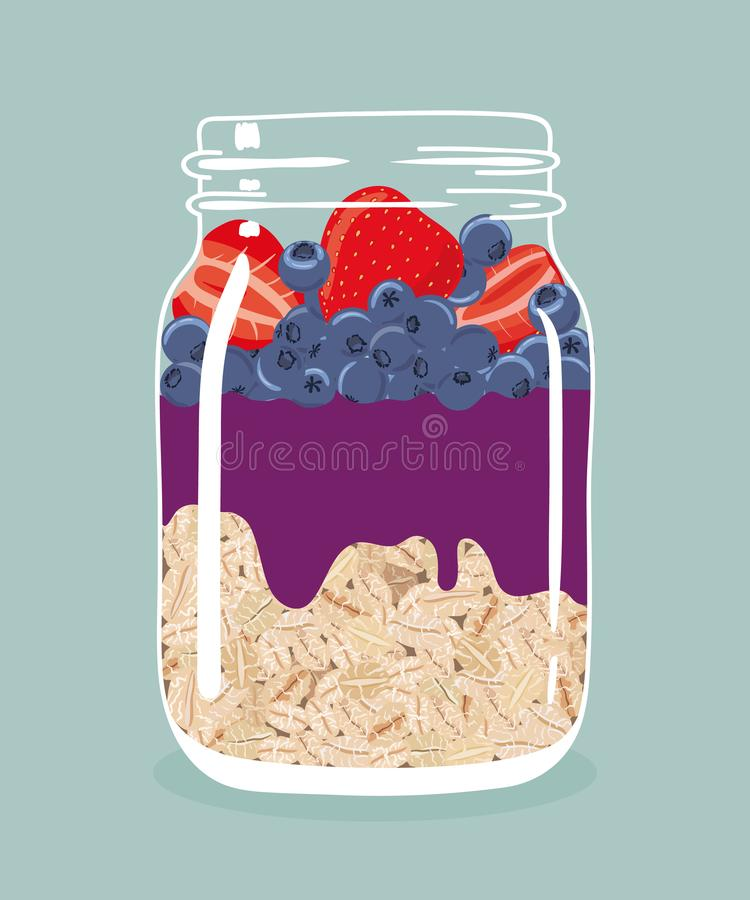Nachtelijke haver met aardbeien, bosbessen en acai smoothie in de kruik van de glasmetselaar Vector hand getrokken illustratie stock illustratie