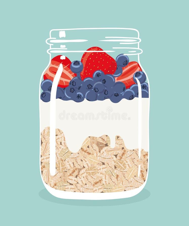 Nachtelijke haver met aardbeien, bosbessen en yoghurt in de kruik van de glasmetselaar Vector hand getrokken illustratie vector illustratie