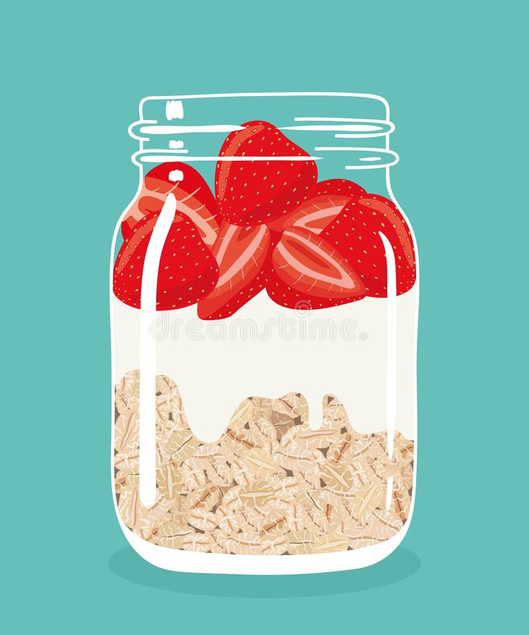 Nachtelijke haver met aardbeien en yoghurt in de kruik van de glasmetselaar Vector hand getrokken illustratie stock illustratie