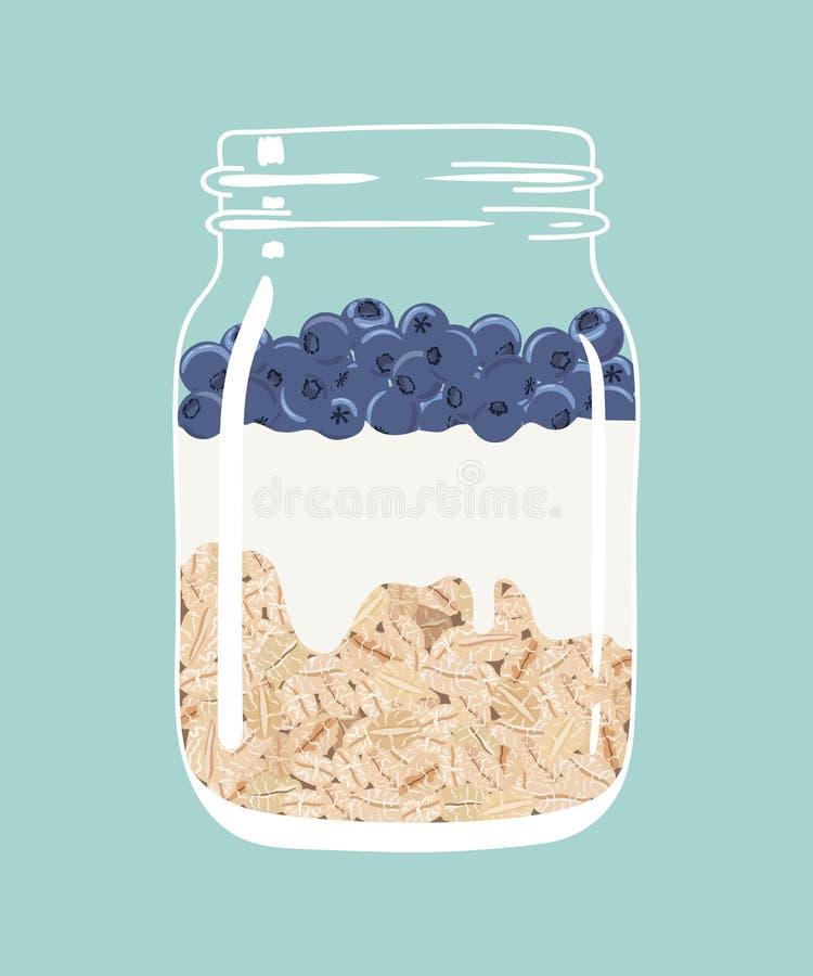 Nachtelijke haver met bosbessen en yoghurt in de kruik van de glasmetselaar Vector hand getrokken illustratie vector illustratie
