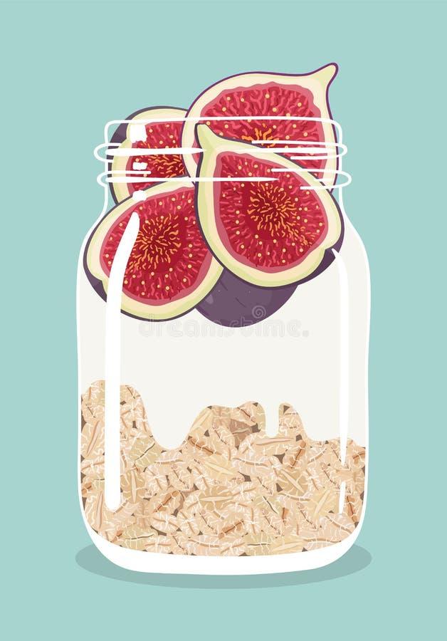 Nachtelijke haver met fig. en yoghurt in de kruik van de glasmetselaar Vector hand getrokken illustratie stock illustratie