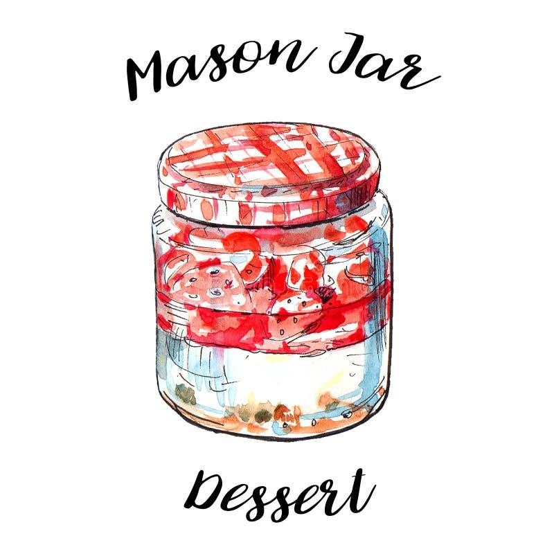 Nachtelijke haver met verse rode aardbeien en yoghurt in uitstekende metselaarkruik Het gezonde snelle gedeelte van het ontbijtha vector illustratie